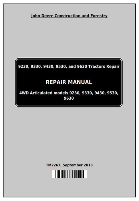 First Additional product image for - John Deere 9230, 9330, 9430, 9530, and 9630 4WD Articulated Tractors Repair Service Manual (TM2267)