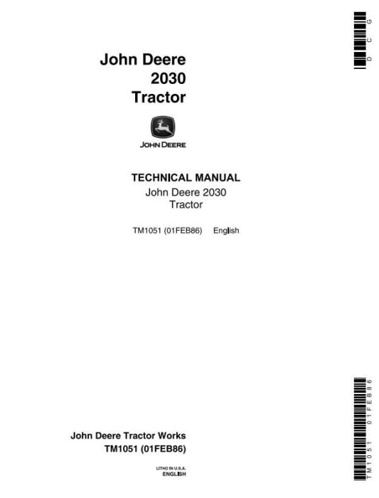 First Additional product image for - John Deere 2030 Utility Tractor Technical Service Manual (tm1051)