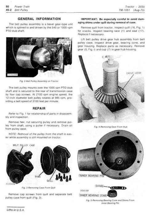 Third Additional product image for - John Deere 2030 Utility Tractor Technical Service Manual (tm1051)