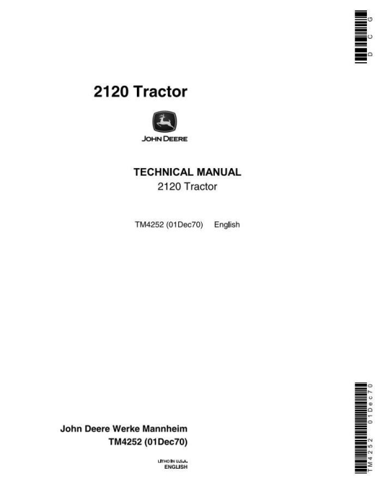 First Additional product image for - John Deere 2020, 2120 Tractors Technical Service Manual (tm4252)