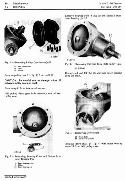 Fourth Additional product image for - John Deere 2020, 2120 Tractors Technical Service Manual (tm4252)
