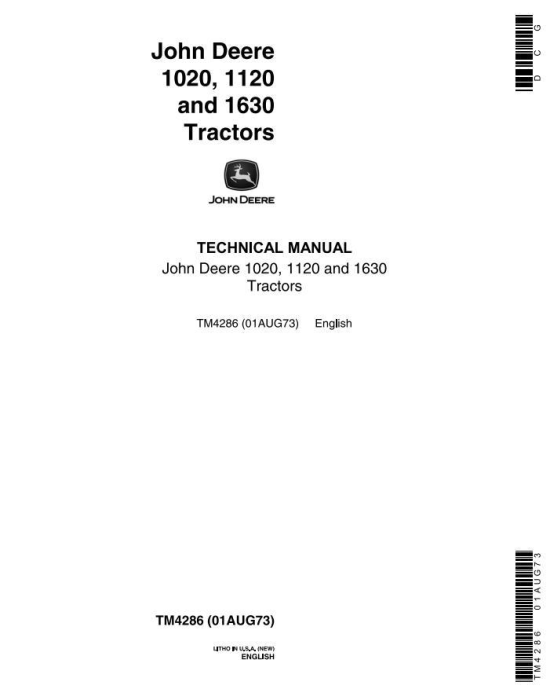 First Additional product image for - John Deere  1020, 1120, 1630  Tractors Technical Service Manual (tm4286)