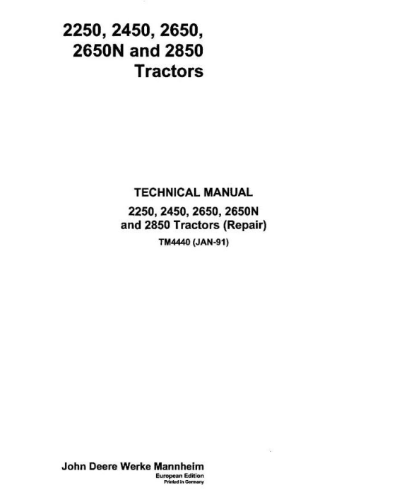 First Additional product image for - John Deere  2250, 2450, 2650, 2650N and 2850 Tractors Service Repair Technical manual (tm4440)