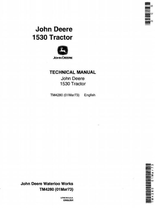First Additional product image for - John Deere 1530 Tractors Technical Service Manual (tm4280)