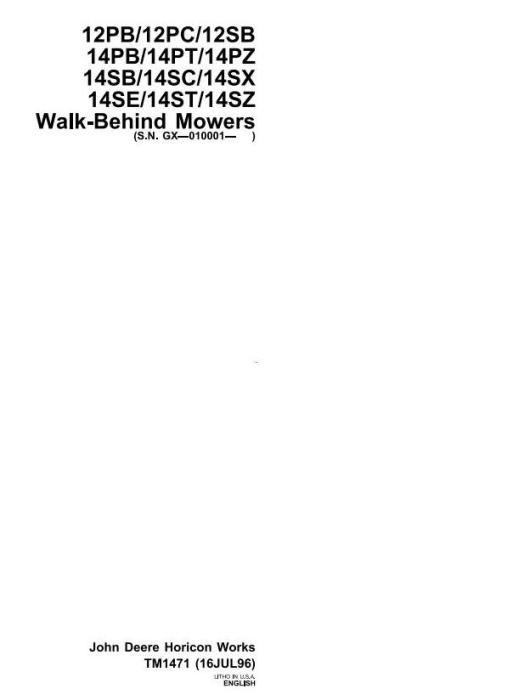 First Additional product image for - John Deere Mowers 12PB 12PC 12SB 14PB 14PT 14PZ 14SB 14SC 14SE 14ST 14SX 14SZ Technical Manual (TM1471)