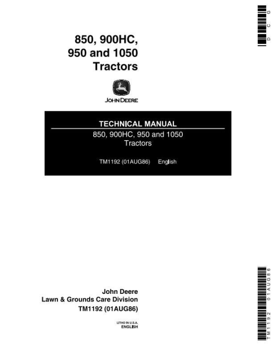 First Additional product image for - John Deere 1050, 850, 900HC, 950 Utility Tractors Technical Service Manual (TM1192)