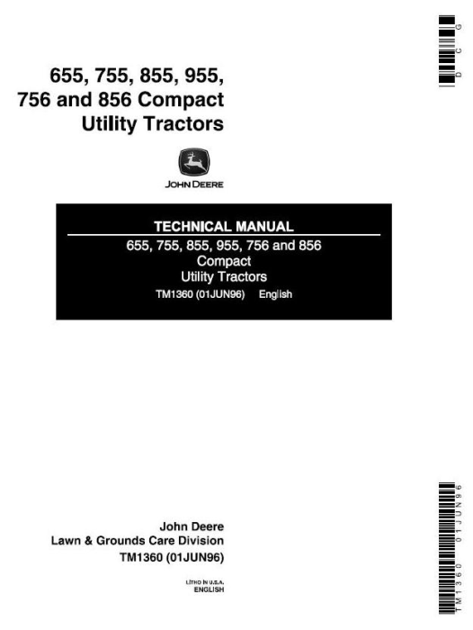 First Additional product image for - John Deere 655, 755, 756, 855, 856, 955 Compact Utility Tractors Technical Service Manual (tm1360)