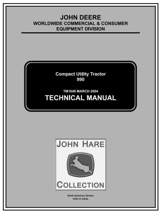 First Additional product image for - John Deere 990 Compact Utility Tractors Technical Service Manual (tm1848)
