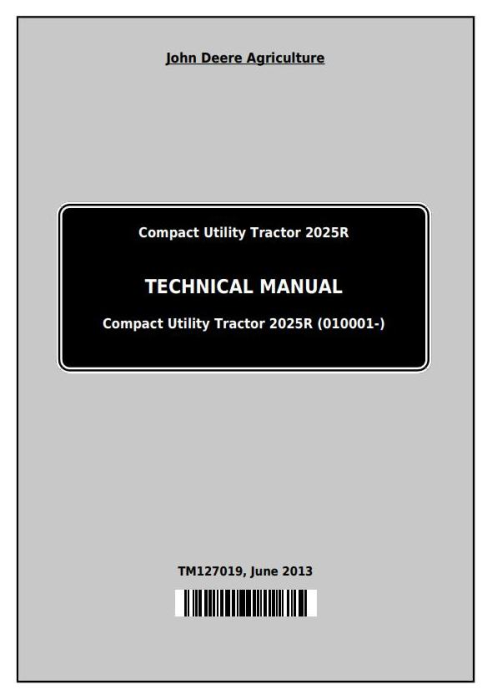 First Additional product image for - John Deere Compact Utility Tractor 2025R Technical Service Manual (TM127019)