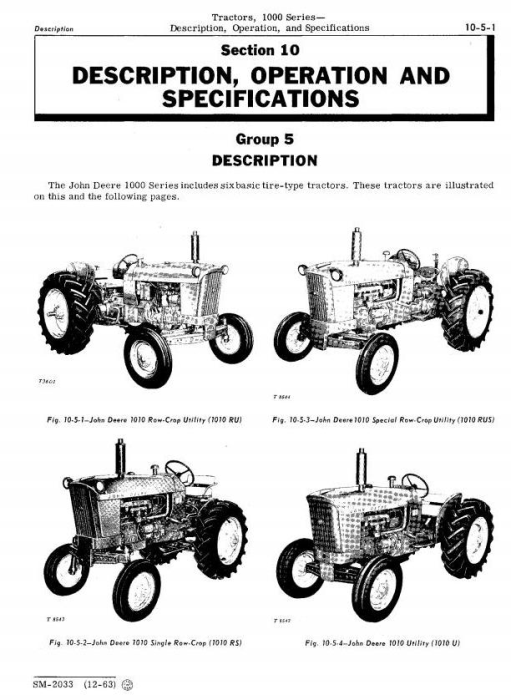 Second Additional product image for - John Deere 1010, 1010RS, 1010RU, 1010RUS, 1010O, 1010U, 1010R Tractors Technical Service Manual (sm2033)