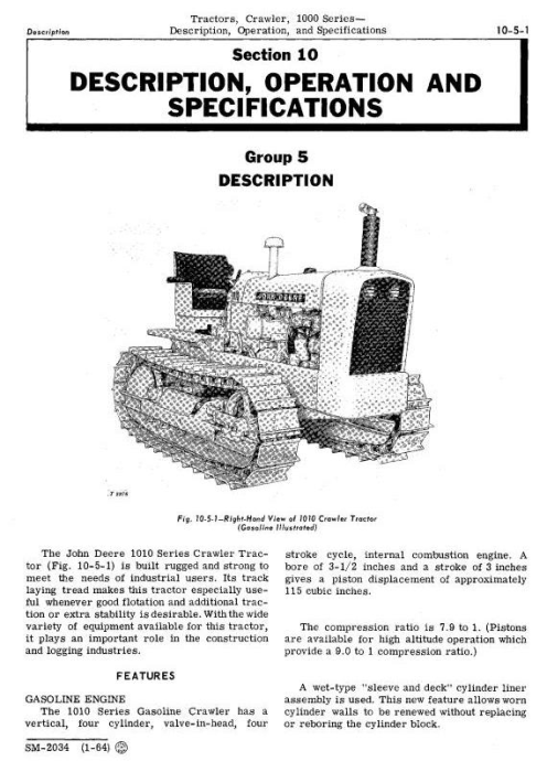 Second Additional product image for - John Deere 1010 Crawler Tractors Technical Service Manual (sm2034)
