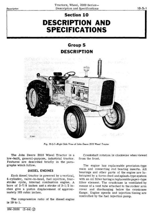 Second Additional product image for - John Deere 2010 Wheel Tractors Service Technical Manual (sm2036)