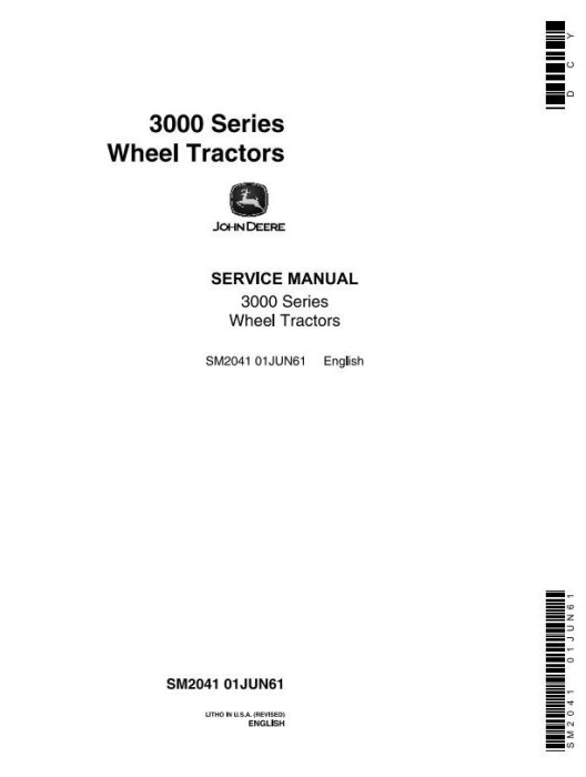 First Additional product image for - John Deere 3010 Wheel Tractors Technical Service Manual (sm2041)