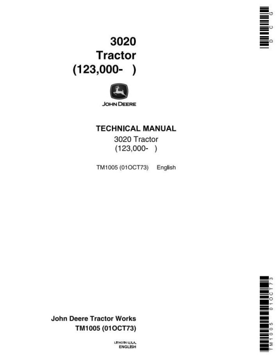 First Additional product image for - John Deere 3020 Row-Crop Tractor  (SN. 123000-) All Inclusive Technical Service Manual (tm1005)