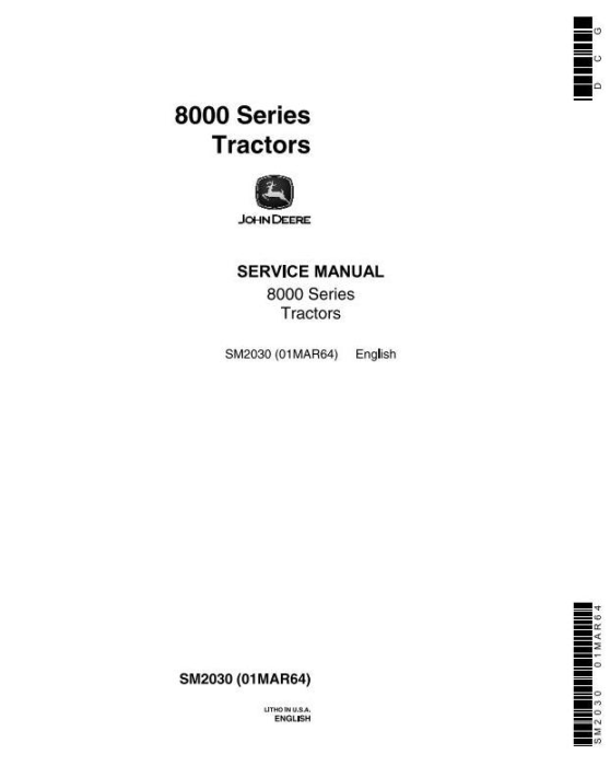 First Additional product image for - John Deere 8010, 8020  2WD or MFWD Tractors All Inclusive Technical Service Manual (sm2030)