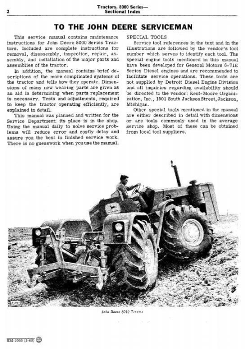 Second Additional product image for - John Deere 8010, 8020  2WD or MFWD Tractors All Inclusive Technical Service Manual (sm2030)