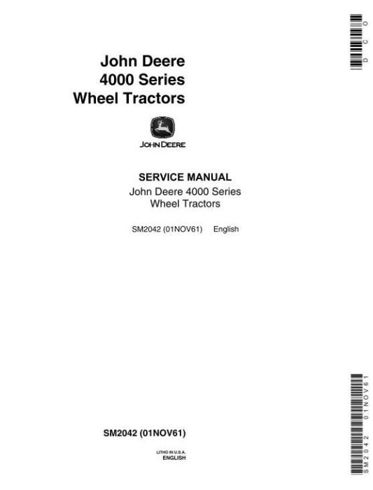 First Additional product image for - John Deere 4010 Tractors Service Technical Manual (sm2042)