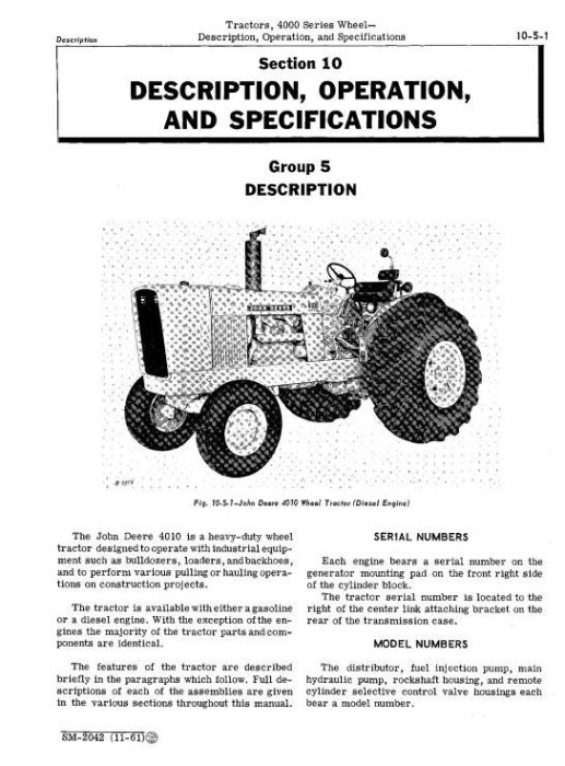 Second Additional product image for - John Deere 4010 Tractors Service Technical Manual (sm2042)