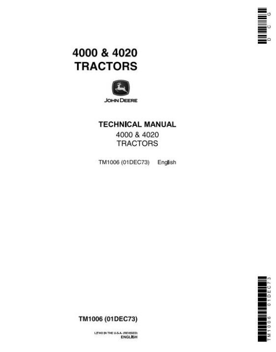 First Additional product image for - John Deere 4000, 4020 Tractors Diagnostic and Repair Technical Service Manual (tm1006)