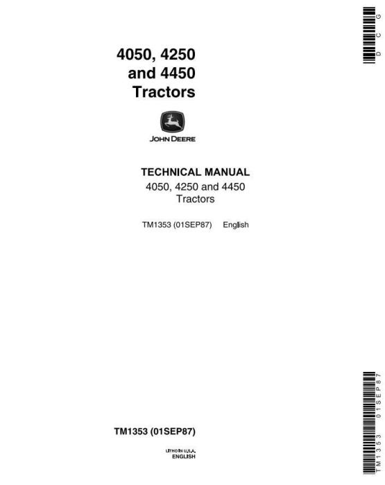 First Additional product image for - John Deere 4050, 4250, 4450 Tractors All Inclusive Technical Service Manual (tm1353)