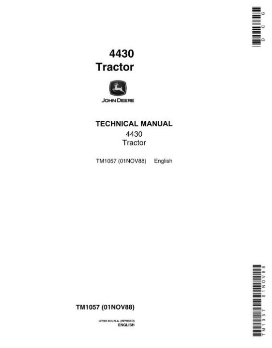 First Additional product image for - John Deere 4430 Row Crop Tractors (SN.before 033108) Technical Service Manual (tm1057)