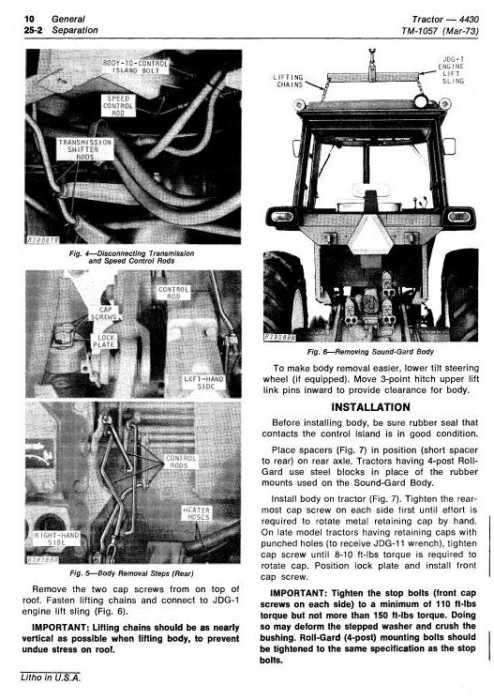 Second Additional product image for - John Deere 4430 Row Crop Tractors (SN.before 033108) Technical Service Manual (tm1057)