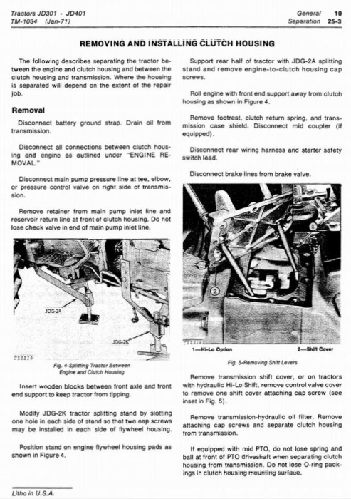 Second Additional product image for - John Deere 301, 401 Utility Construction Tractor Technical Service Manual (tm1034)