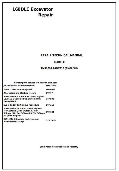 First Additional product image for - John Deere 160DLC Excavator Service Repair Manual (TM10091)