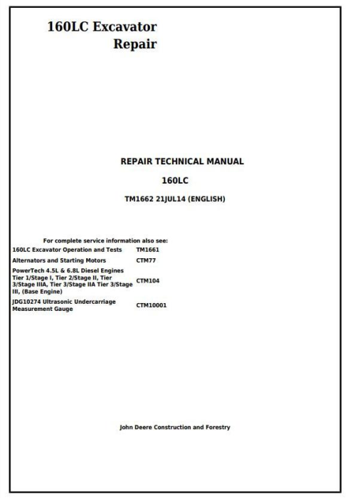 First Additional product image for - John Deere 160LC Excavator Service Repair Technical Manual (tm1662)