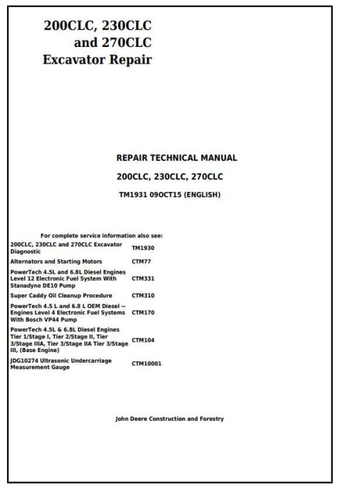 First Additional product image for - John Deere 200CLC, 230CLC and 270CLC Excavator Service Repair Technical Manual (TM1931)