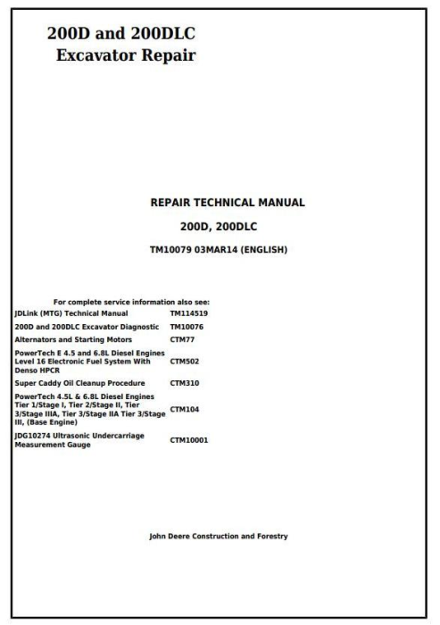 First Additional product image for - John Deere 200D and 200DLC Excavator Service Repair Technical Manual (TM10079)
