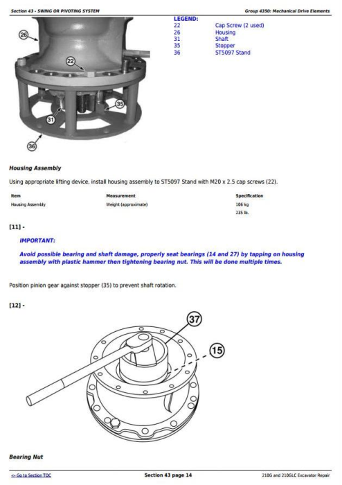 Fourth Additional product image for - John Deere 210G and 210GLC (PIN: 1FF210GX__C520001-) T2/S2 Excavator Service Repair Manual (TM12539)