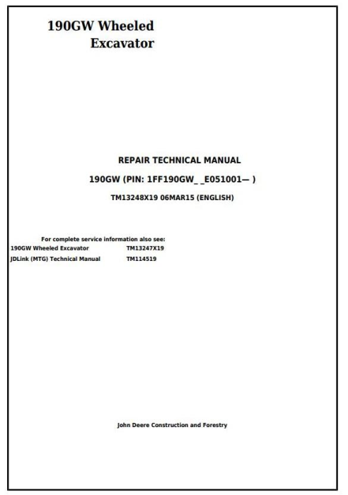 First Additional product image for - John Deere 190GW (PIN: 1FF190GW__E051001-) Wheeled Excavator Service Repair Manual (TM13248X19)