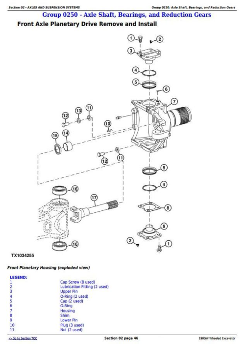 Second Additional product image for - John Deere 190GW (PIN: 1FF190GW__E051001-) Wheeled Excavator Service Repair Manual (TM13248X19)