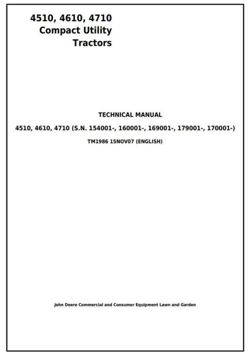 First Additional product image for - John Deere 4510, 4610, 4710 Compact Utility Tractors Diagnostic and Repair Technical Manual (tm1986)