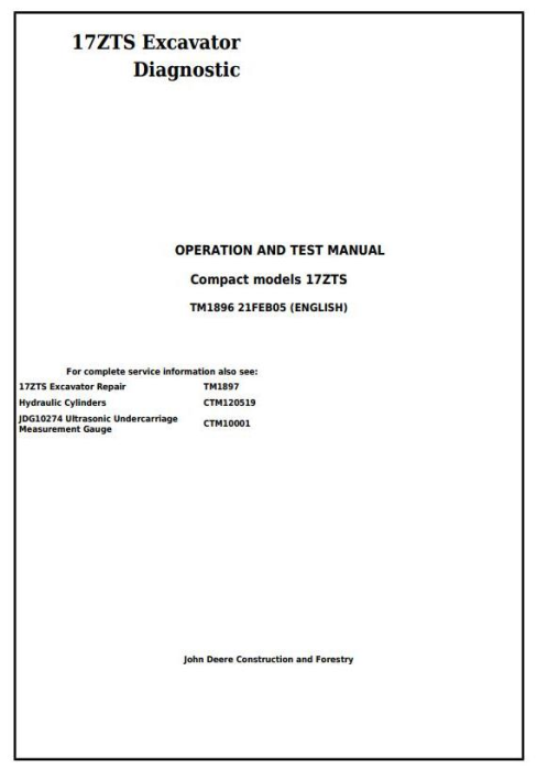 First Additional product image for - John Deere 17ZTS Compact Excavator Diagnostic, Operation and Test Service Manual (tm1896)
