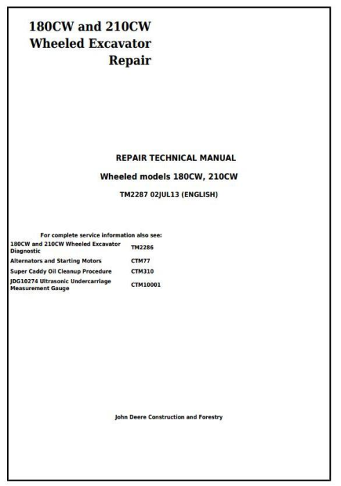 First Additional product image for - John Deere 180CW and 210CW Wheeled Excavator Service Repair Manual (tm2287)