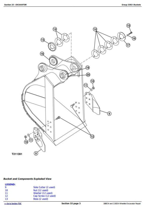 Second Additional product image for - John Deere 180CW and 210CW Wheeled Excavator Service Repair Manual (tm2287)