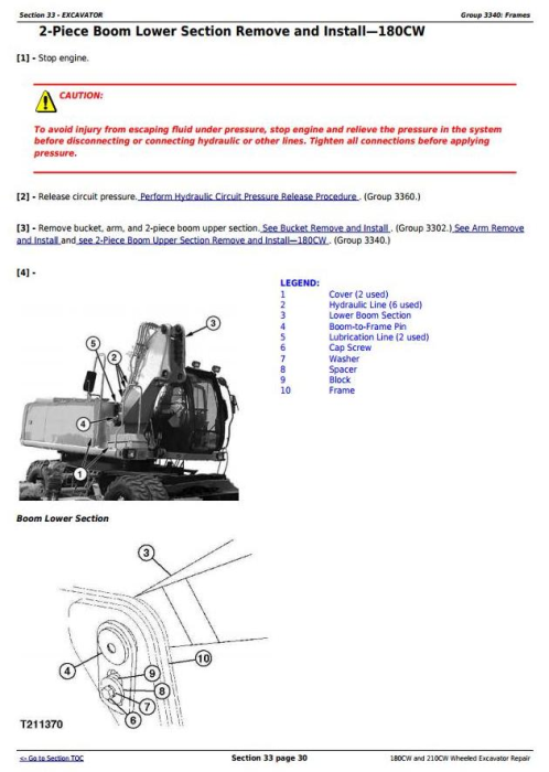 Fourth Additional product image for - John Deere 180CW and 210CW Wheeled Excavator Service Repair Manual (tm2287)