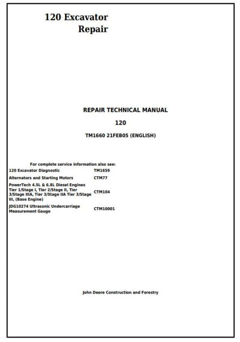 First Additional product image for - John Deere 120 Excavator Service Repair Technical Manual (tm1660)