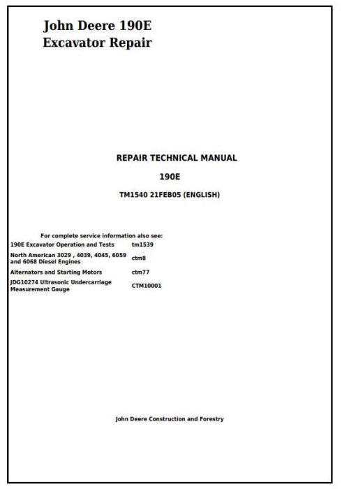 First Additional product image for - John Deere 190E Excavator Service Repair Technical Manual (tm1540)
