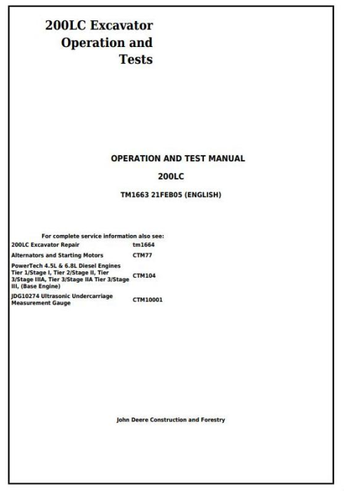 First Additional product image for - John Deere 200LC Excavator Diagnostic, Operation and Test Service Manual (tm1663)
