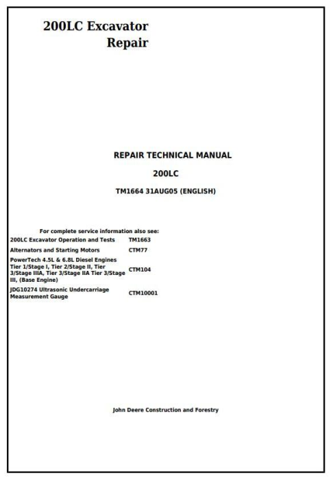 First Additional product image for - John Deere 200LC Excavator Service Repair Manual (tm1664)