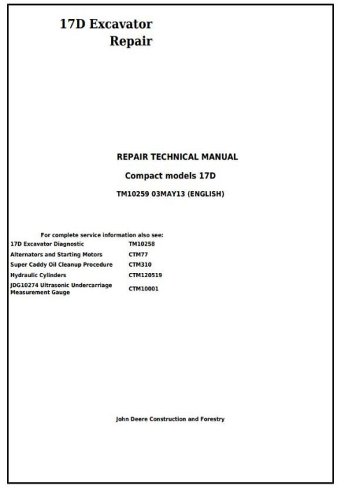 First Additional product image for - John Deere 17D Compact Excavator Service Repair Technical Manual (TM10259)