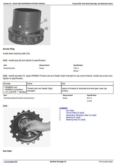 Third Additional product image for - John Deere 17D Compact Excavator Service Repair Technical Manual (TM10259)