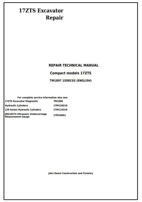 First Additional product image for - John Deere 17ZTS Compact Excavator Service Repair Technical Manual (TM1897)