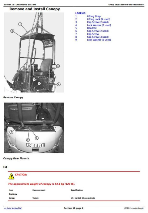 Fourth Additional product image for - John Deere 17ZTS Compact Excavator Service Repair Technical Manual (TM1897)