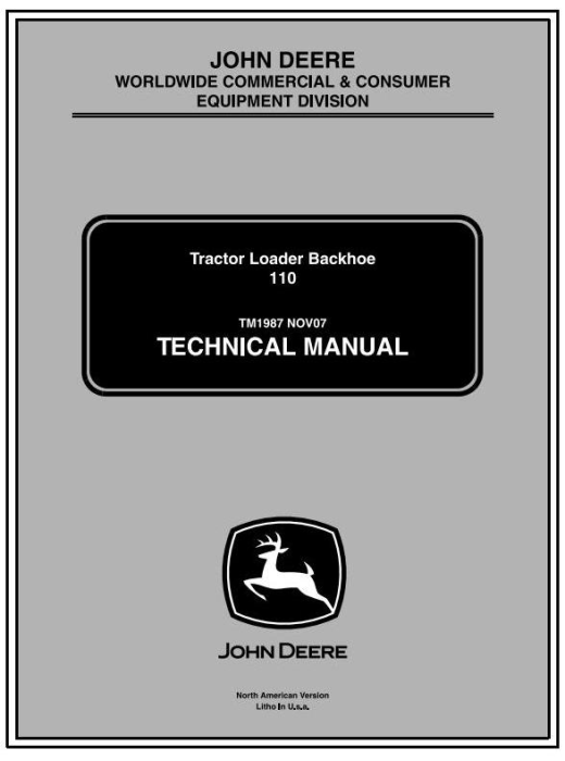 First Additional product image for - John Deere Backhoe Loader Tractors Diagnostic and Repair Technical Service Manual (tm1987)