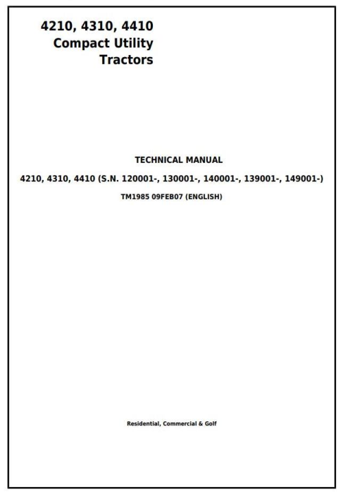 First Additional product image for - John Deere 4210, 4310, 4410 Compact Utility Tractor Diagnostic & Repair Technical Manual (tm1985)