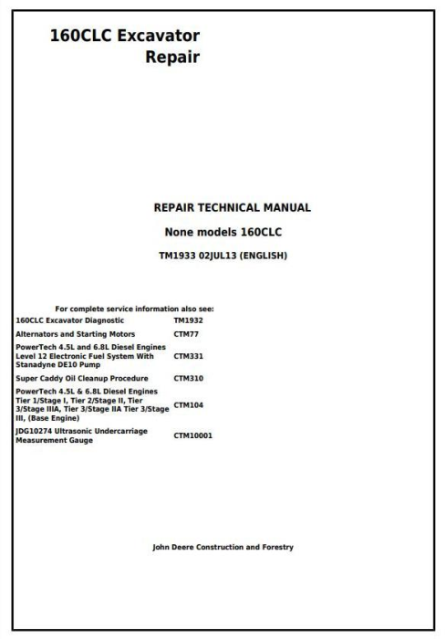 First Additional product image for - John Deere 160CLC Excavator Service Repair Manual (TM1933)